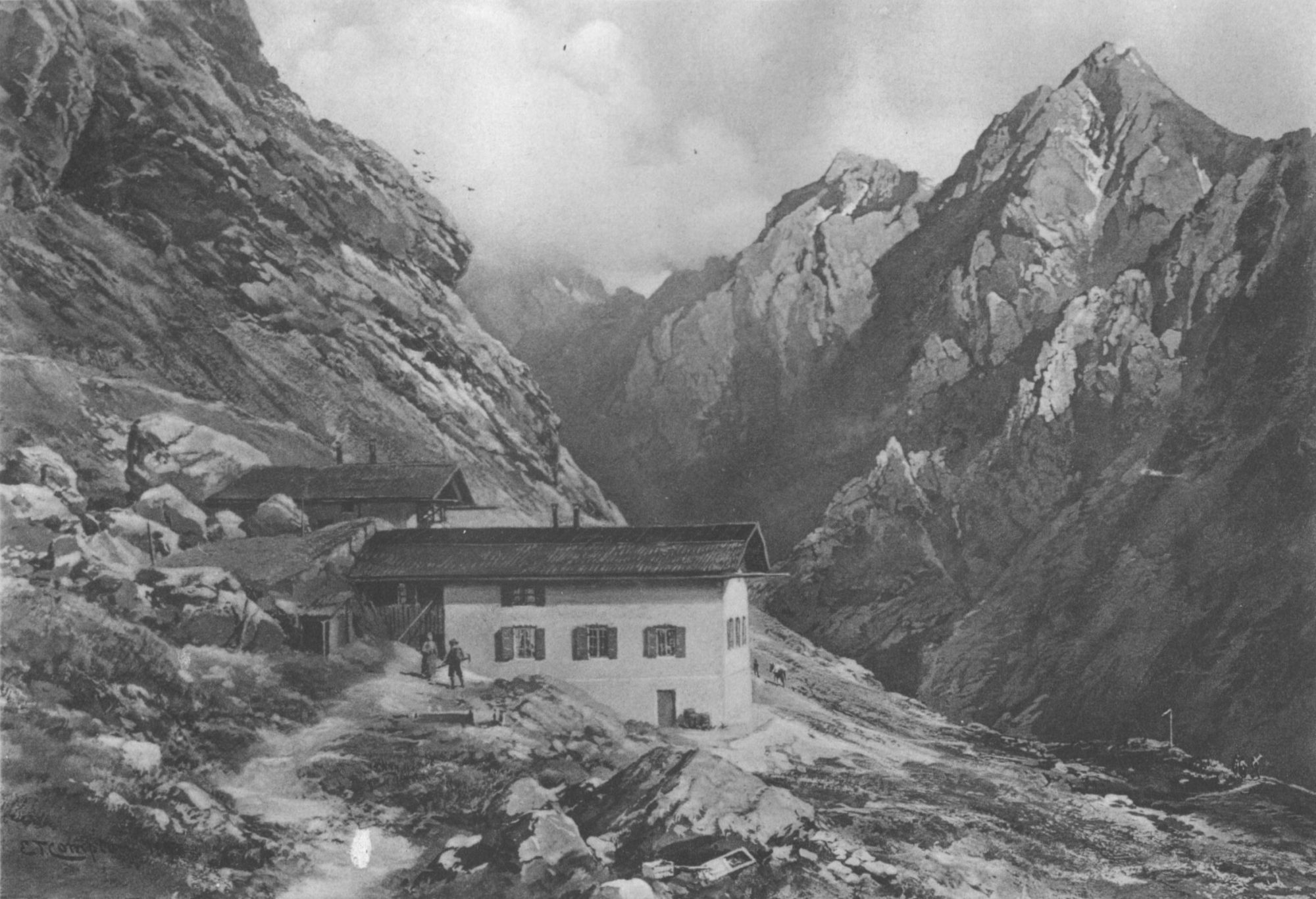 'Knorrhütte in the Weatherstone Mountains', 1890, a hut belonging to the German Alpine Association located at 2052m altitude in the Eastern Alps (Source: Creative Commons).