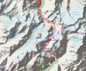 A map of the trail, which spans a section of the alps in both Italy and Switzerland (Source: Trace de Trail).