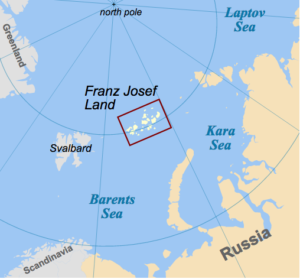 Franz Josef Land archipelago is located north of mainland Russia (Source: Oona Räisänen / Creative Commons).