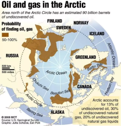The Arctic contains rich oil and gas reserves (Source: USGS / Creative Commons).