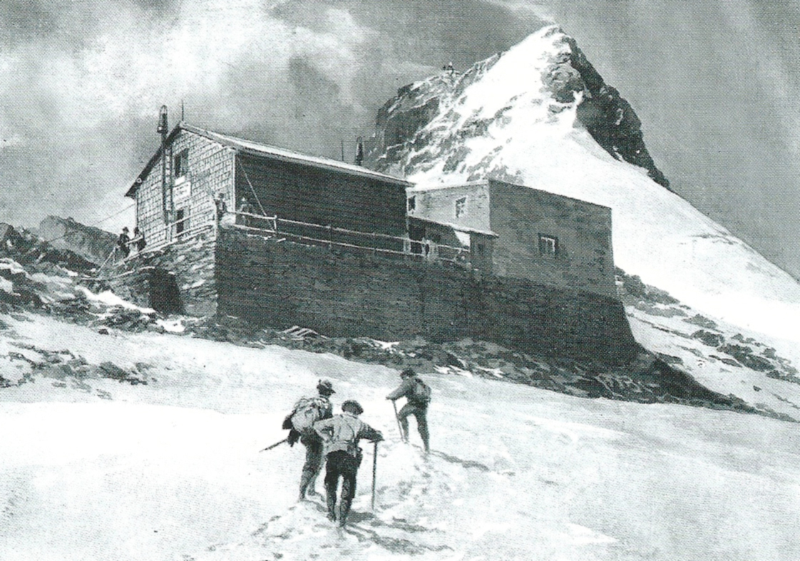 An illustration entitled Erzherzog-Johann Hut from the Hoffmanskees, with Grossglockner in the background (Source: Creative Commons).