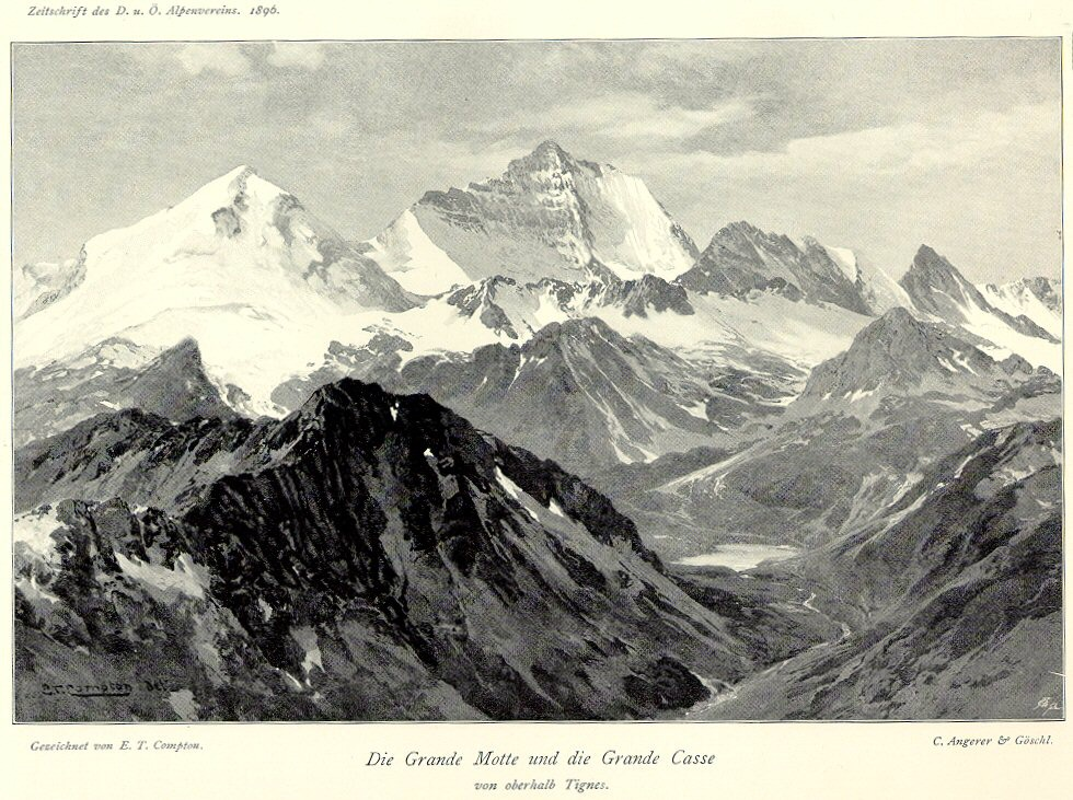 An illustration of two glaciers within the French Alps: 'Grand Motte and Grand Casse from above Tignes', 1896 (Source: Creative Commons).