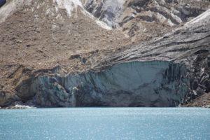 Glacier front subject to calving, Lake Palcacocha (source: Jeff Kargel).