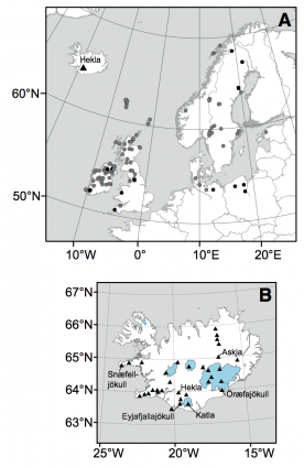 Maps of volcanic ash sample sites and Iceland Holecene volcanos and ice masses