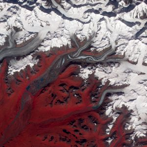 Aerial photo of the Susitna Glacier of south-central Alaska.
