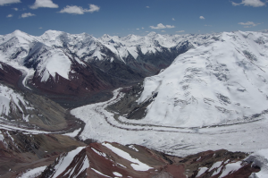 Photo of a glacier in the Pamir Mountains