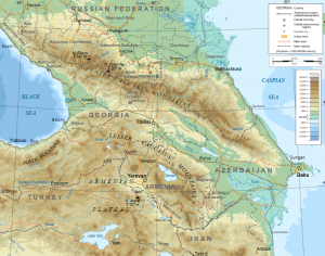 Map of Caucasus Mountain Range