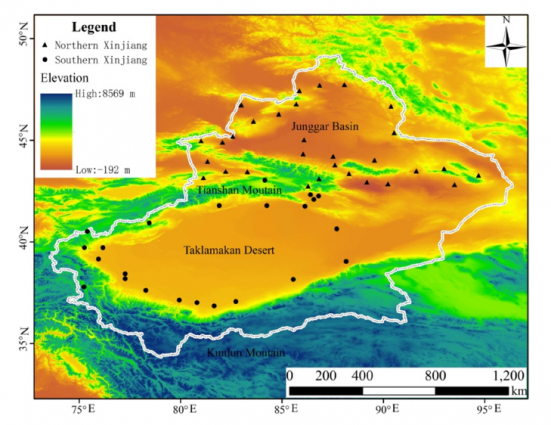 Topography of Xinjiang Region (Source: Chen et al).