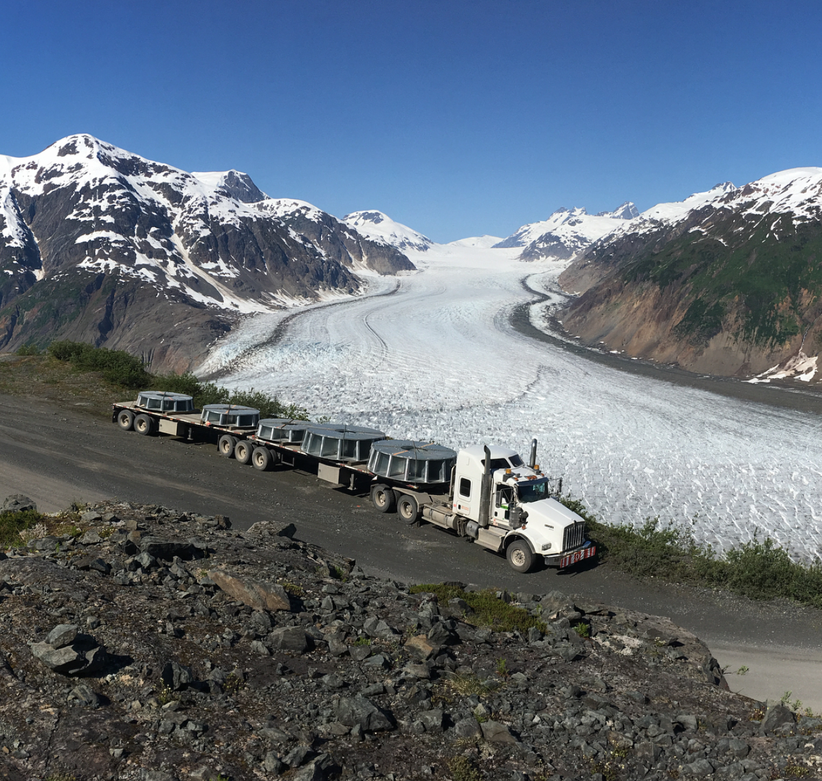 Image of Mining Truck on the Glacier Highway en route to Brucejack Mine (Source: Nolan/Instagram)