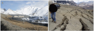 Photos of mine waste on a glacier and a damaged road that was built on top of a glacier