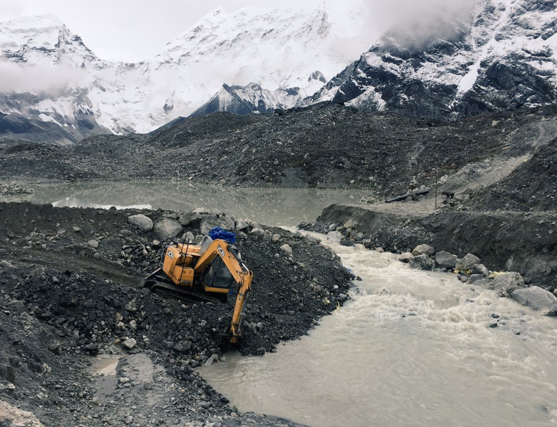 Photo of the draining of a glacial lake
