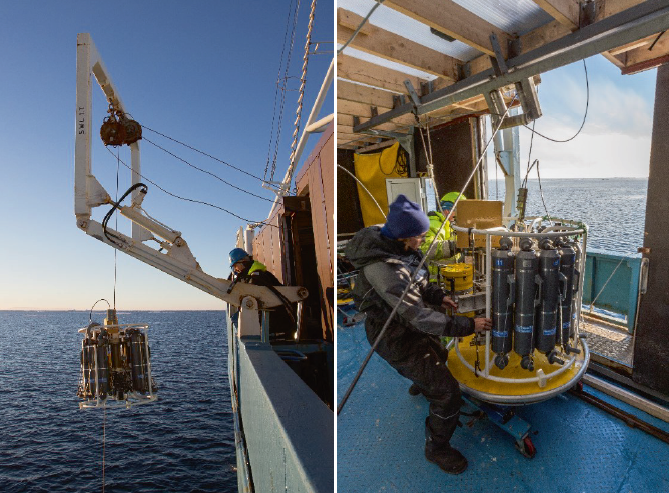 Collecting Conductivity, Temperature and Depth (CTD) measurements from the West Spitsbergen Current from a cruise (Source: Paul A. Dodd)