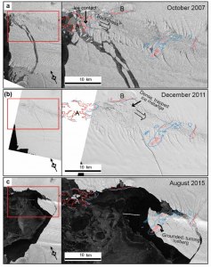 Photo of the 2007, 2011, and 2015 calving events in relation to the underlying topography