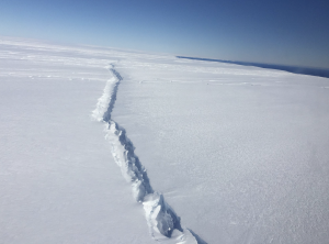 Photo of Pine Island Glacier rift in 2017