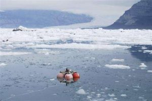 Deploying a hydrophone to measure ice sounds (Source: Phys Org)