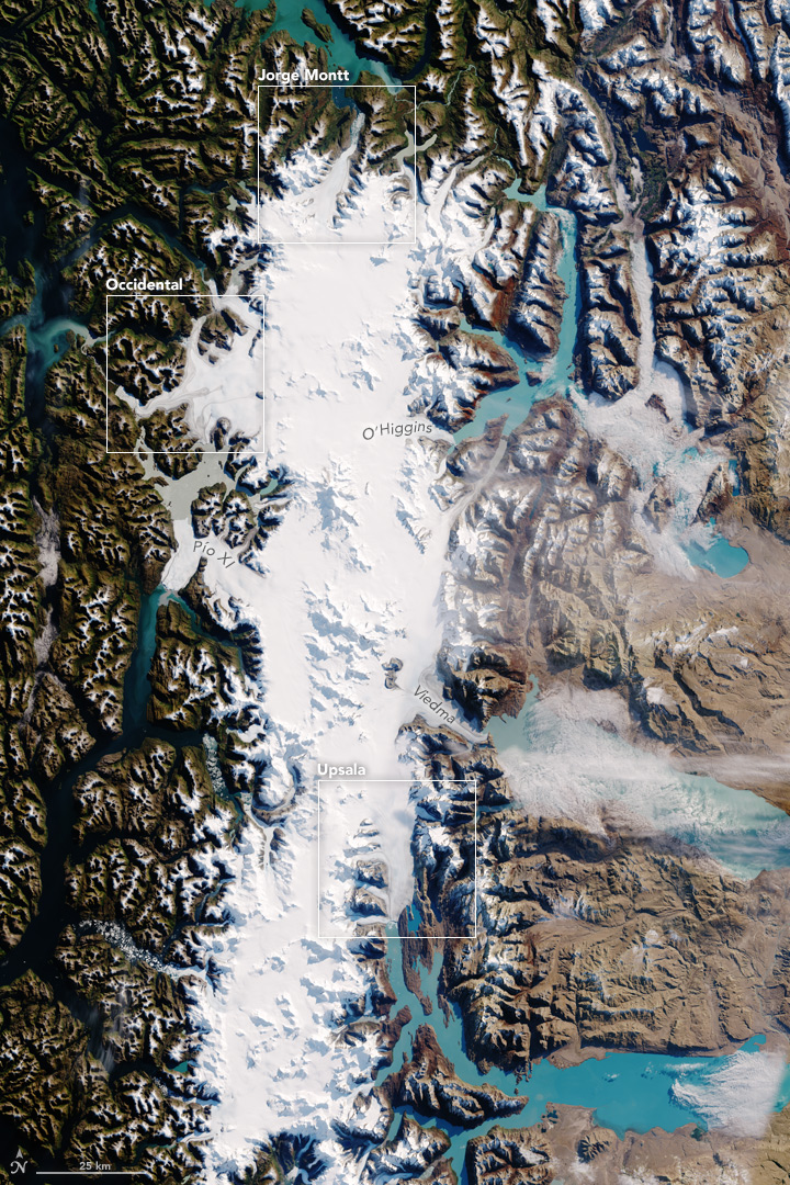 Overview of photo of the southern Patagonia ice-field