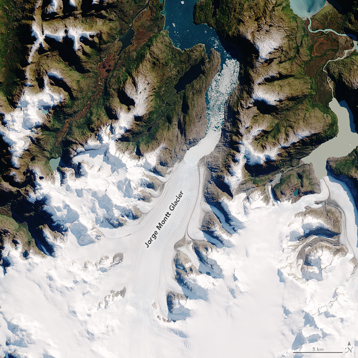 Aerial photo of the Jorge Montt glacier