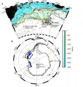 Map of He-3 samples around Antartica.