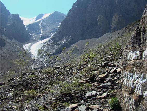 Maliy Aktru glacier's forefront on glacierhub
