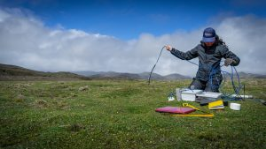 A woman researcher takes measurements in a high mountain wetland in Ecuador.