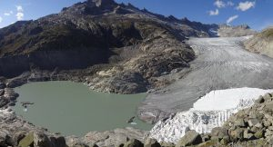 Swiss glaciers: Lake at the tongue of the Rhone Glacier on GlacierHub