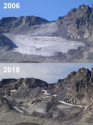 Swiss glaciers: Pizol Glacier in 2006 and 2018 reveals massive glacial retreat on GlacierHub