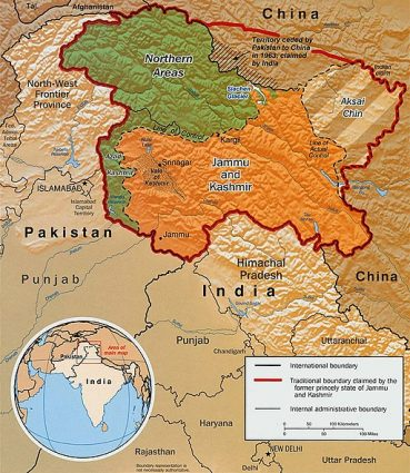 Map of Kashmir boundaries and the Indus river basin on GlacierHub