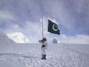 Person holding up a Pakistani flag on the world's highest battlefield, Siachen Glacier on GlacierHub