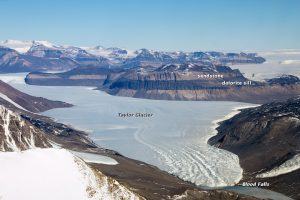 An aerial view of Taylor Glacier and the location of Blood Falls on GlacierHub