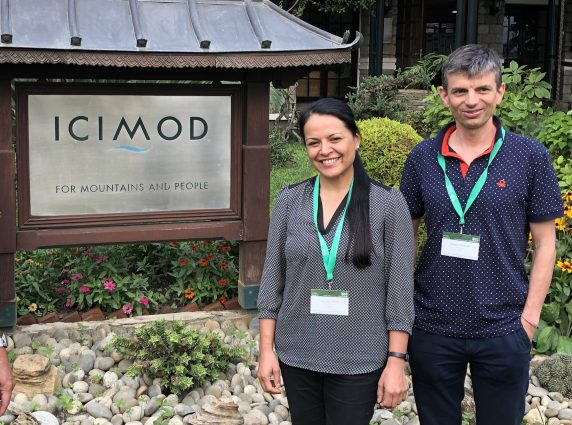 IPCC lead authors Carolina Adler (left) and Christian Huggel (right) at ICIMOD neadquarters
